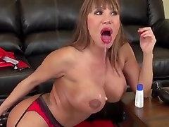 Asian Milf ava huge black dildo anal