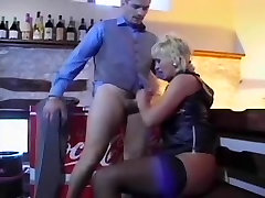 Blonde with big tits receives an euro rod in her ass