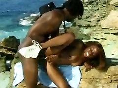 black Lifeguard milf suck deep throat bbc at beach