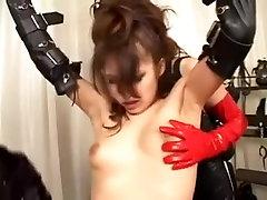 Hairy Japanese slut gets into a lesbian BDSM threesome