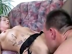 German mature in stockings nailed on her couch