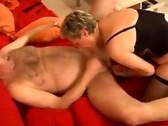 Stunning German Granny fucks her husband in stockings