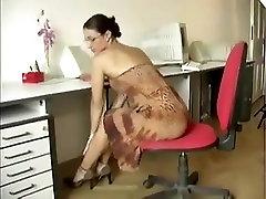 Sexy Hairy Babe Huge Glass Dildo