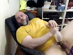 Big bear with fleshlight and cumming