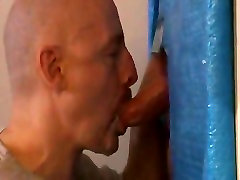 Hot sucking action at the homemade glory hole 18
