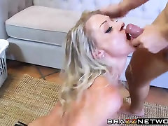 Hot blonde babe with tattoos taking big dick in the ass