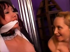 Little Lystra tied and gagged for fun and teased by her breasty mistresse