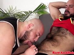 Hairy superchub barebacks cocksucking chubby