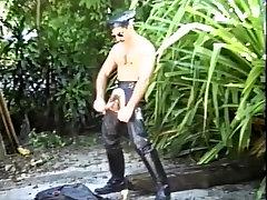 Exotic male pornstar in incredible uniform, solo male gay porn movie