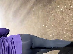 Asian wife running in spandex