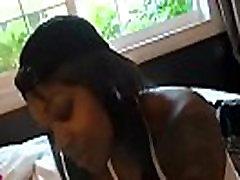 Soaked black girl licks and rides