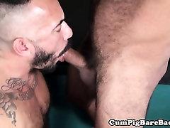 Cockriding pierced bear jerksoff creamy load