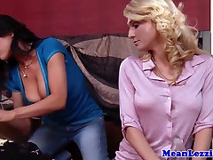 Busty stapon lesbians out stripping eachother