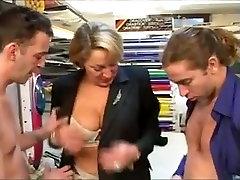 German Mature boss copulates 2 employes