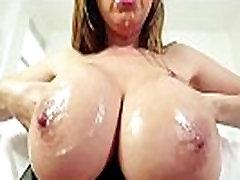 Busty asian cocksucker enjoys licking cum