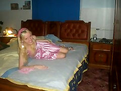 Pictures of blonde girl in different dresses on bed