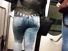 2 hot teen asses in blue jeans HD