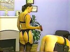 Old retro video of mistress whipping and caning her slave
