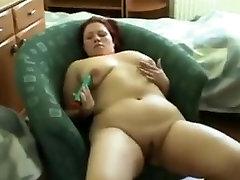 Horny Chubby BBW Ex GF masturbating her shaven pussy