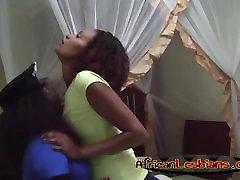 Busty ebony girlfriend licking cunts in bedroom