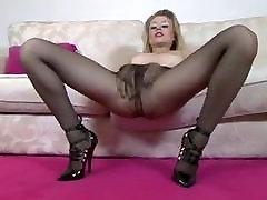 Pantyhose Black Blonde masturbation