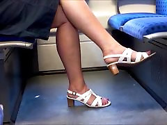 Candid Mature Legs With Longer Red Toenails
