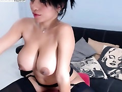 Sexy amateur brunette with big perky boobs