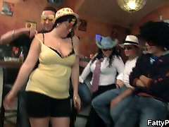 Boozed chubby party girl getting naked in the bar