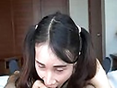 Young ladyboy teen blowjob and handjob filmed in POV