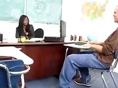 Busty ebony teacher gets the white cock
