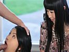 DearSX.com - Asian Mom Oversees Teenage Daughter Sucking Off New Lodger