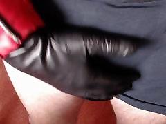 Leather gloved handjob
