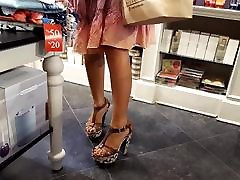 Sexy mature legs feets, black toes in high heels