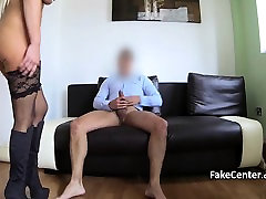 Blonde in black stocks fucked on casting