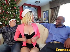 Bigtitted classy tranny doggystyled by BBC
