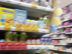 Nice brunette with small ass in the supermarket