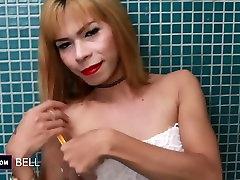 Ladyboy Belle Shaving And Masturbation