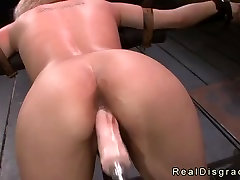 Bdsm blonde pussy and throat fucked by huge dick and fucking machine