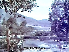 Outdoor Nudists Enjoying Naked Lifestyle 1950s Vintage