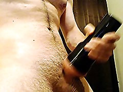 hot young stud strokes big cock to cumshot with fleshlight