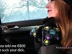 Redhead amateur fucks in warm car in public