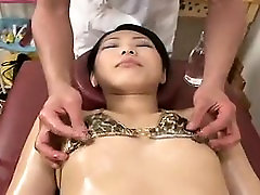 Asian fetish babe sucking cock during wet and messy massage