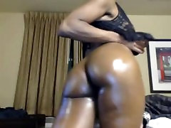 Striptease ebony milf with big natural tits