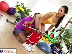 Fitness Rooms Hardcore gym fucking and facial for cute Asian