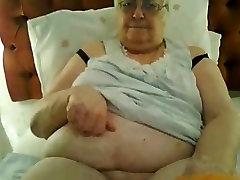 Super-sized british granny in black lingerie