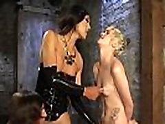Asian TS gets blowjob in BDSM threesome