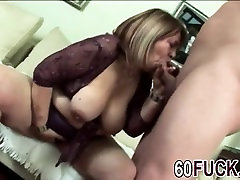 BBW granny got her fat pussy stuffed by a young cock