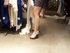 Teen natural white legs, high heels hot ass