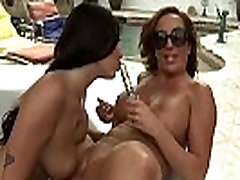MILFGonzo Two big tit milfs fuck each other by the pool