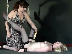 New lesbian slave Satine Sparks electro bdsm and self bdsm